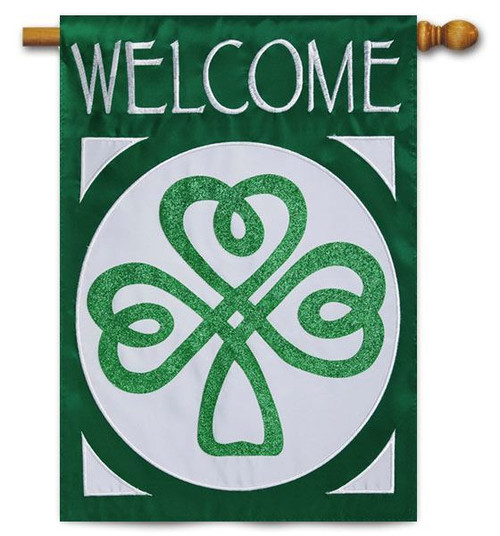 "Celtic St. Patrick's Welcome Applique House Flag - 28"" x 44"" - 2 Sided Message"