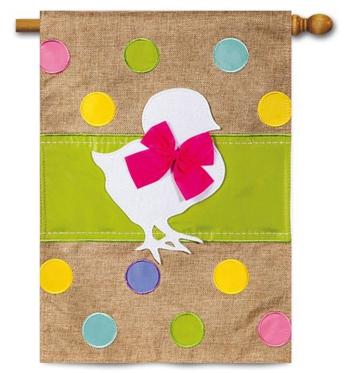 "Easter Chick Burlap House Flag - 28"" x 44"""