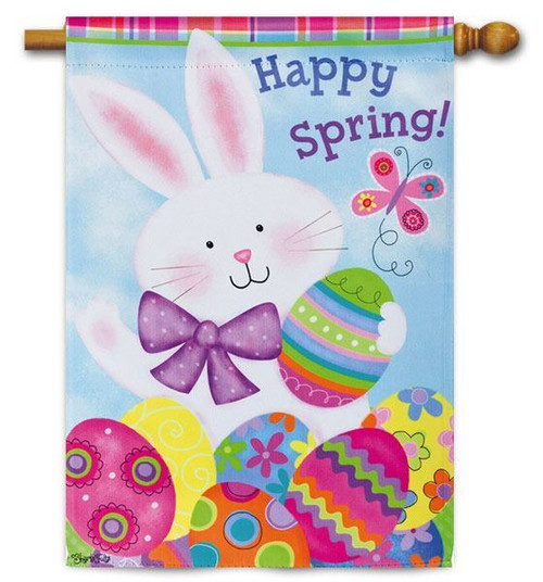 "Colorful Bunny Easter House Flag - 28"" x 44"" - 2 Sided Message"