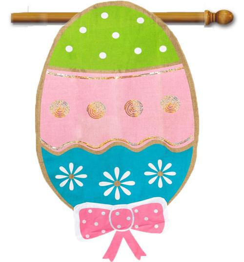 """Easter Egg Burlap House Flag - 28"""" x 44"""""""