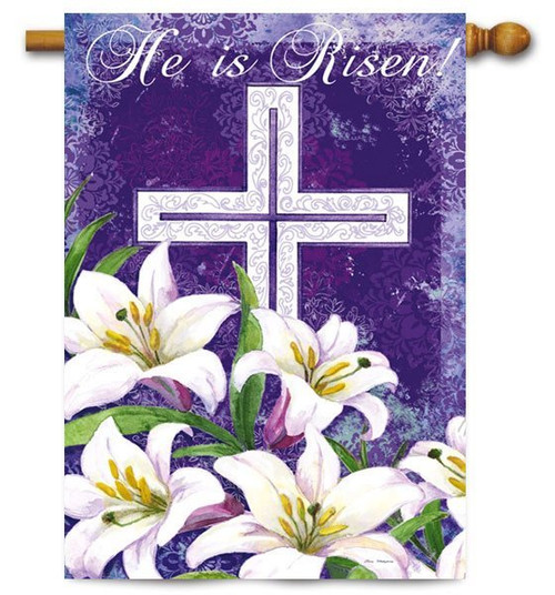 "Easter Cross and Lilies House Flag - 29"" x 43"" - 2 Sided Message - Evergreen"