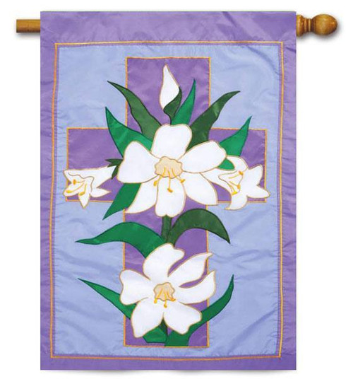 "Easter Morning Applique House Flag - 28"" x 44"" - Evergreen"
