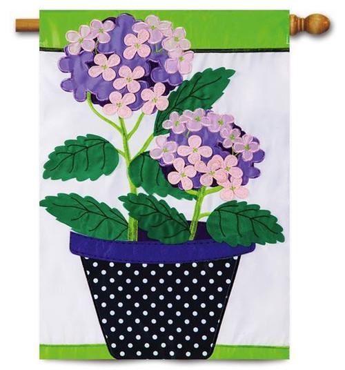 "Hydrangea Beauty Applique House Flag - 28"" x 44"""