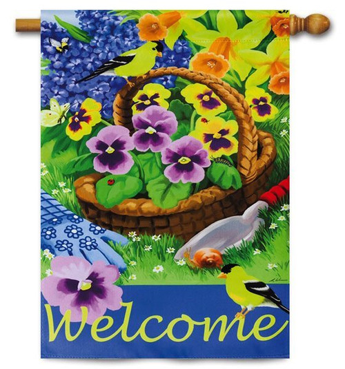 "Pansies for Planting House Flag - 29"" x 43"" - 2 Sided Message"