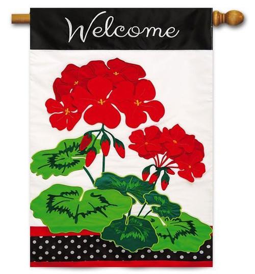 "Welcome Geranium Applique House Flag - 28"" x 44"" - 2 Sided Message"