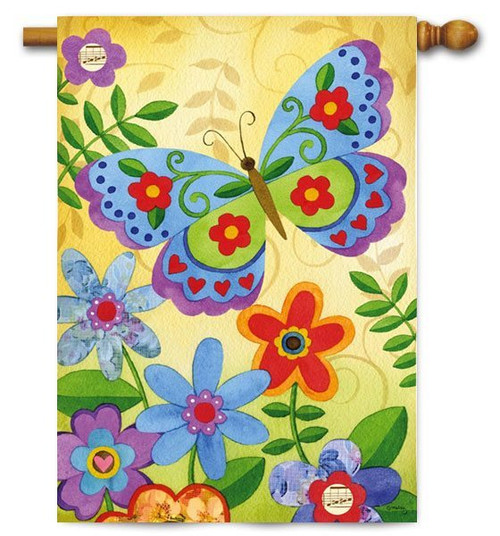 "Beautiful Butterfly House Flag - 29"" x 43"" - Evergreen"