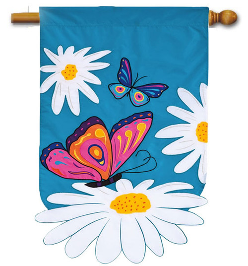 """Daisies and Butterflies Applique House Flag - 28"""" x 44"""""""