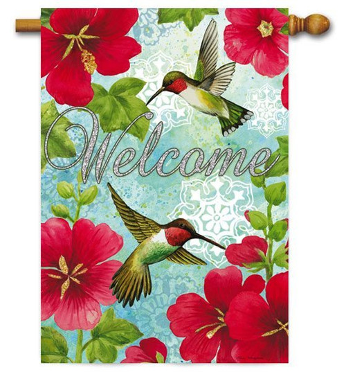 "Hummingbird Trio and Geraniums House Flag - 29"" x 43"" - 2 Sided Message"