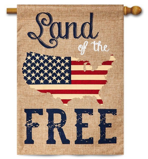 "Land of the Free Burlap House Flag - 28"" x 44"" - 2 Sided Message"