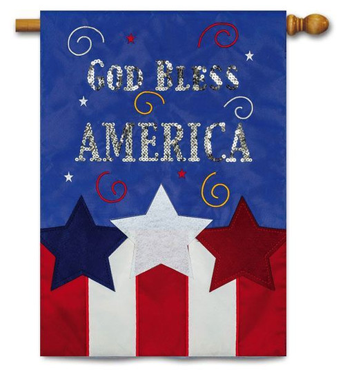 "God Bless America Deluxe Applique House Flag - 28"" x 44"" - 2 Sided Message"