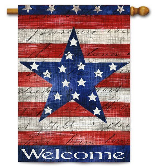 "Patriotic Stripe & Star House Flag - 29"" x 43"" - 2 Sided Message"