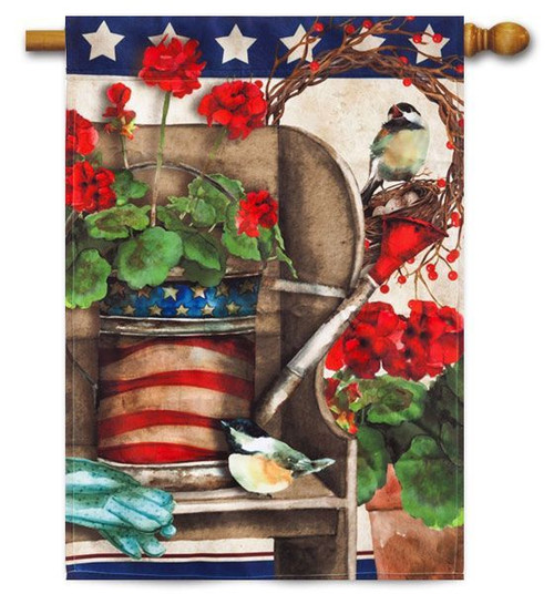 "Patriotic Garden House Flag - 29"" x 43"" - Evergreen"