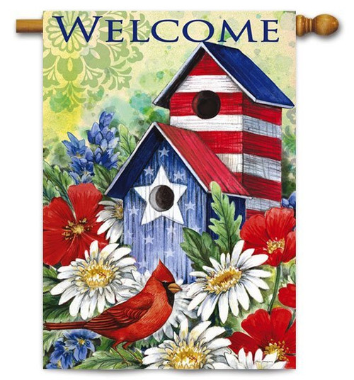 "Patriotic Birdhouse and Cardinal House Flag - 29"" x 43"" - 2 Sided Message"