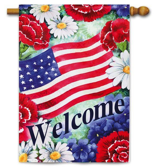 "Blue White and Welcome House Flag - 29"" x 43"" - 2 Sided Message"