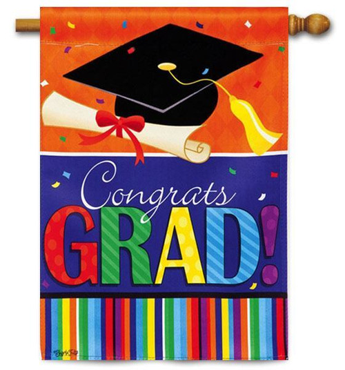 "Confetti Grad House Flag - 29"" x 43"" - 2 Sided Message"