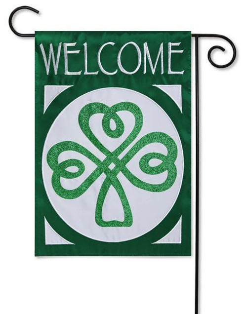 "Celtic St. Patrick's Welcome Applique Garden Flag - 12.5"" x 18"" - 2 Sided Message"