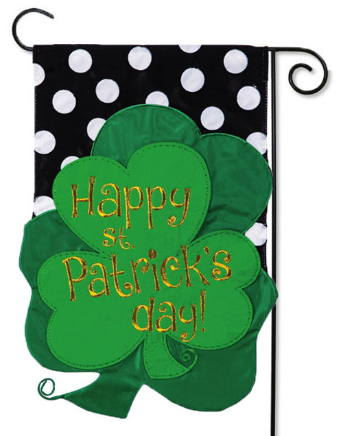 "St. Patrick's Clovers Applique Garden Flag - 12.5"" x 18"" - 2 Sided Message"