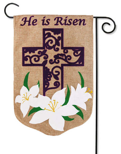 "Easter Lily Burlap Garden Flag - 12.5"" x 18"" - 2 Sided Message"