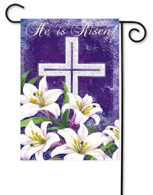 "Easter Cross and Lilies Garden Flag - 12.5"" x 18"" - 2 Sided Message - Evergreen"