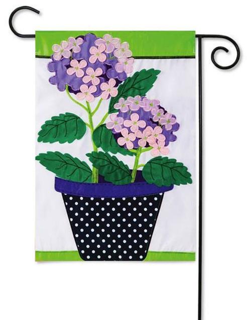 """Hydrangea Beauty Applique Garden Flag - 12.5"""" x 18"""""""