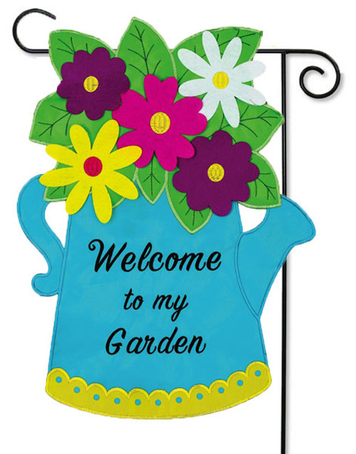 """Blue Watering Can Applique Garden Flag - 12.5"""" x 18"""" - 2 Sided Message"""