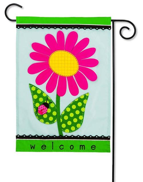 Welcome Daisy Applique Garden Flag