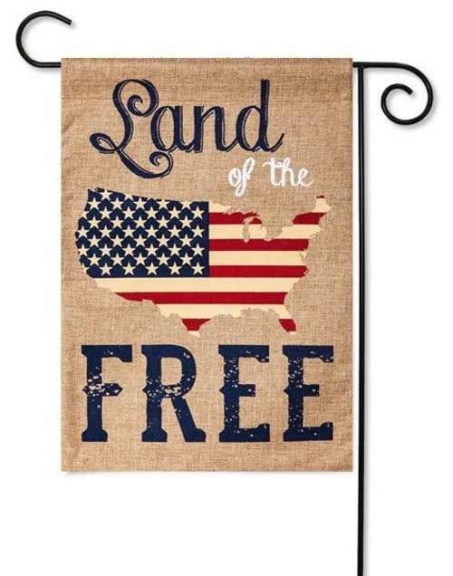 "Land of the Free Burlap Garden Flag - 12.5"" x 18"" - 2 Sided Message"