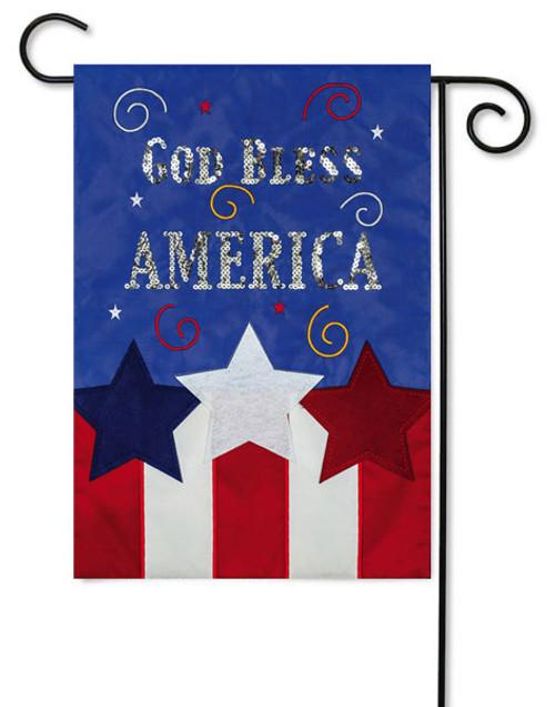 "God Bless America Applique Garden Flag - 12.5"" x 18"" - 2 Sided Message"