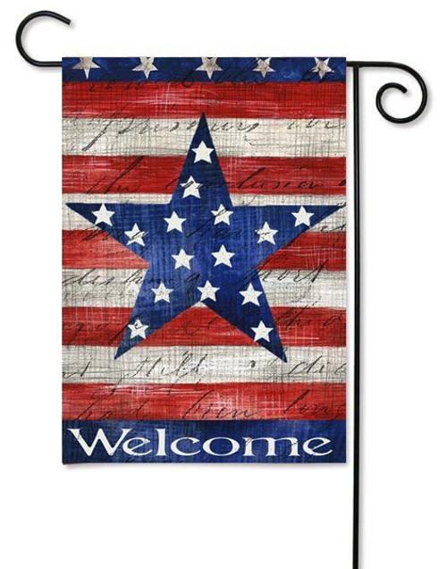 "Patriotic Stripe & Star Garden Flag - 12.5"" x 18"" - 2 Sided Message"