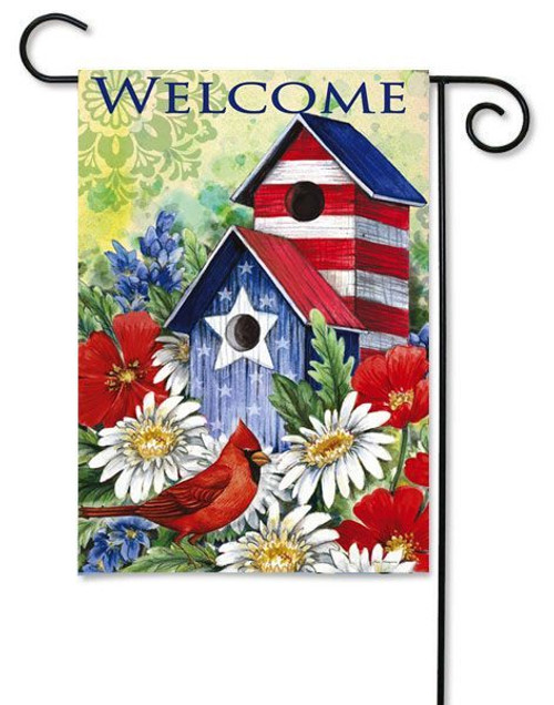 """Patriotic Birdhouse and Cardinal Garden Flag - 12.5"""" x 18"""" - 2 Sided Message"""