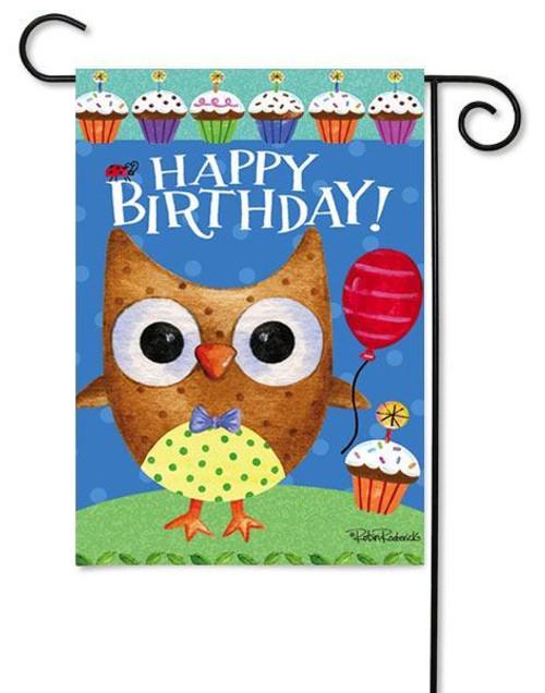 "Owl Birthday Garden Flag - 12.5"" x 18"" - 2 Sided Message"