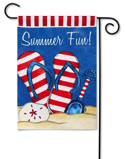 "Summer Fun Garden Flag - 12.5"" x 18"" - 2 Sided Message - Evergreen"