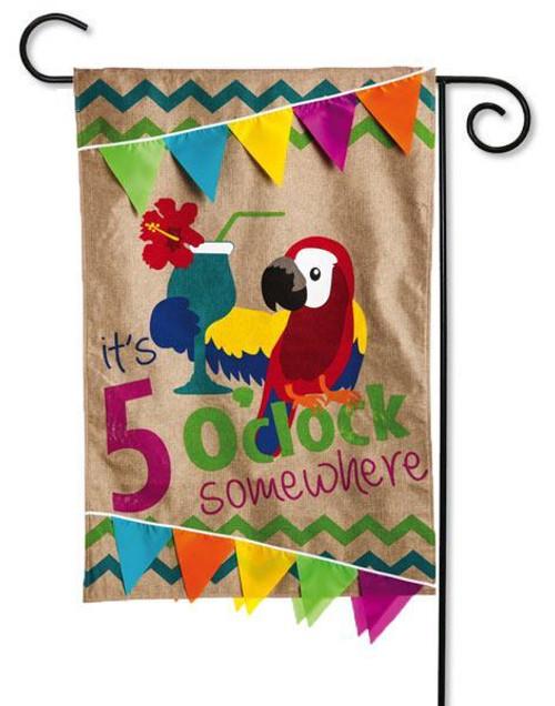 "5 O'Clock Somewhere Burlap Garden Flag - 12.5"" x 18"" - 2 Sided Message"