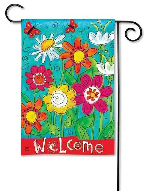 """Welcome Blooms Garden Flag - 12.5"""" x 18"""" - BreezeArt"""