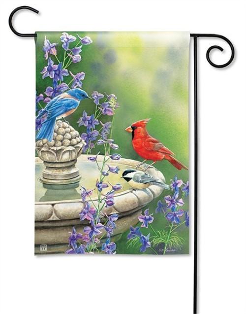 """Birdbath Gathering Garden Flag - 12.5"""" x 18"""" - BreezeArt"""