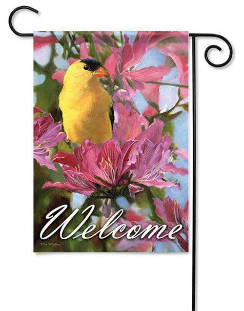 "Pink & Gold Garden Flag - 13"" x 18"" - 2 Sided Message"