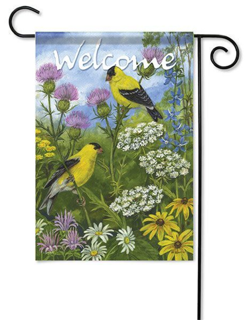 "Goldfinches & Thistle Garden Flag - 13"" x 18"" - 2 Sided Message"