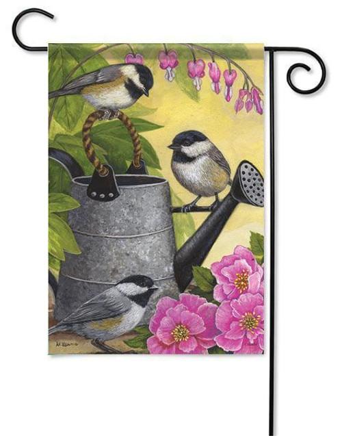 "Garden Chickadees Garden Flag - 13"" x 18"" - Flag Trends"