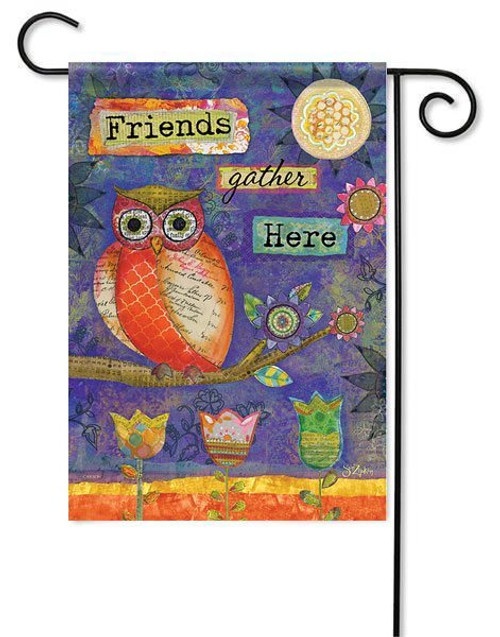 "Artistic Owl Garden Flag - 13"" x 18"" - 2 Sided Message"