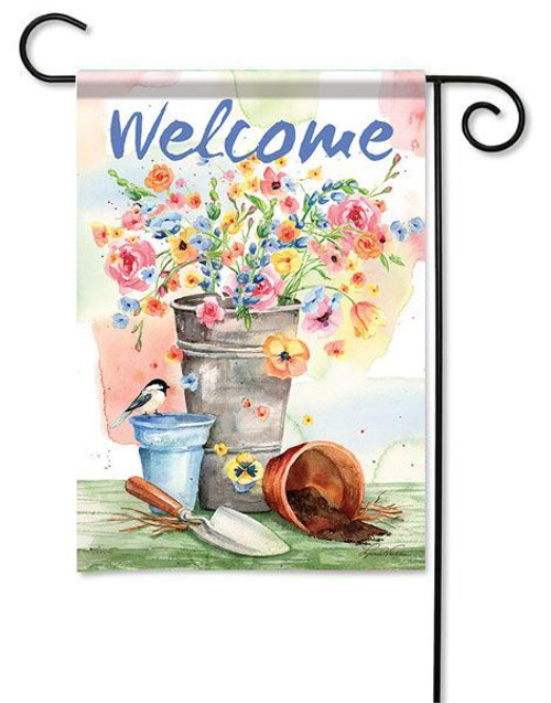 "Flower Bucket Garden Flag - 13"" x 18"" - 2 Sided Message"