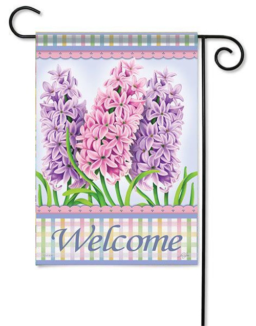 "Spring Hyacinths Garden Flag - 13"" x 18"" - 2 Sided Message"