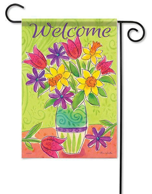 "Bright Flowers Garden Flag - 13"" x 18"" - 2 Sided Message"