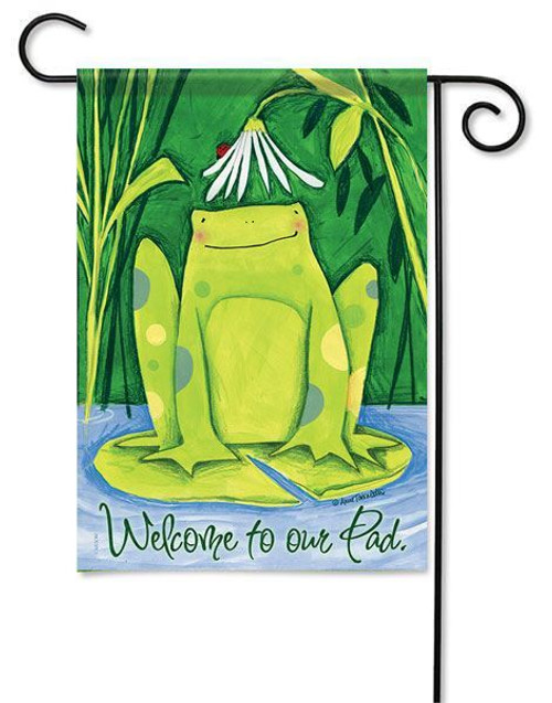 "Daisy Frog Garden Flag - 13"" x 18"" - 2 Sided Message"