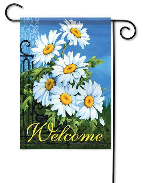 "White Daisies Garden Flag - 13"" x 18"" - 2 Sided Message"