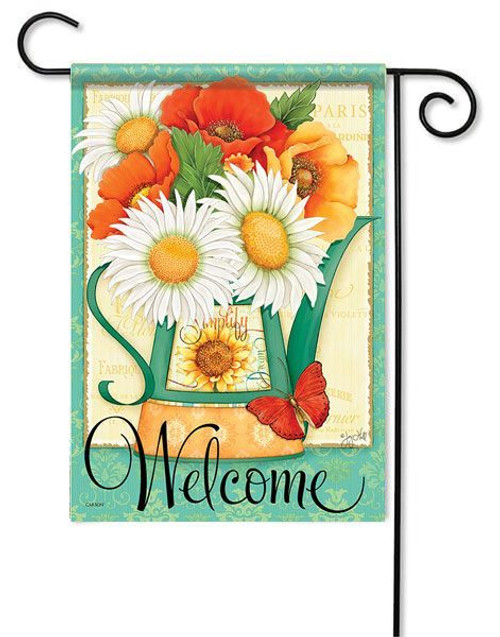 "Pitcher of Poppies Garden Flag - 13"" x 18"" - 2 Sided Message"