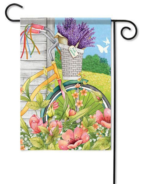 "Bicycle Basket Garden Flag - 13"" x 18"" - 2 Sided Message"