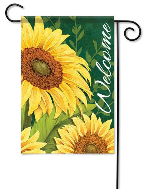 "Sunflower Welcome Garden Flag - 13"" x 18"" - 2 Sided Message"