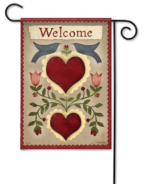 "Country Hearts Garden Flag - 13"" x 18"" - 2 Sided Message"