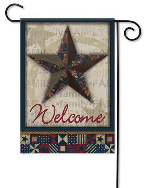"""Quilted Barn Star Garden Flag - 13"""" x 18"""" - 2 Sided Message"""