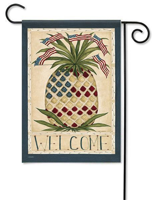 "Patriotic Pineapple Garden Flag - 13"" x 18"" - 2 Sided Message"